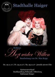 Flyer -Der Arzt wieder Willen, Theatergruppe Dellerlecker e.V.